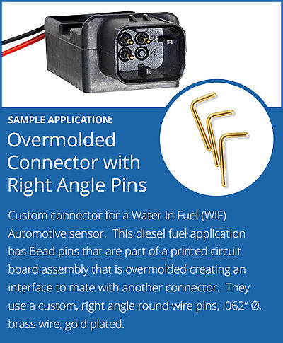 Custom Overmolded Connector with Right Angle Pins Round Gold-plated Water in Fuel Automotive